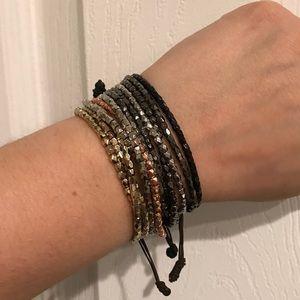 3 tier beaded pull tie bracelet (set of 4)